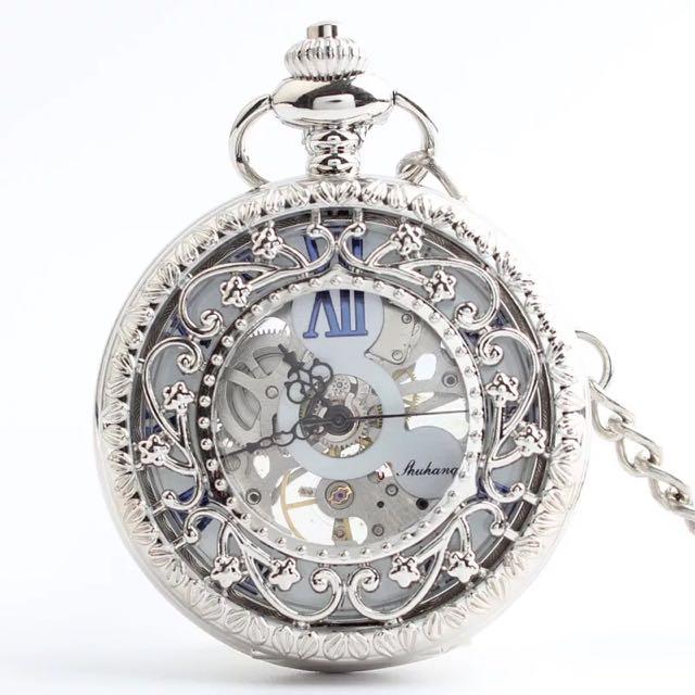 經典歐美復式機械表  男 女 學生皆適用 特色羅馬鏤空陀表  禮品懷錶 情人節禮物 時尚感 機械錶無須電池 永久可用