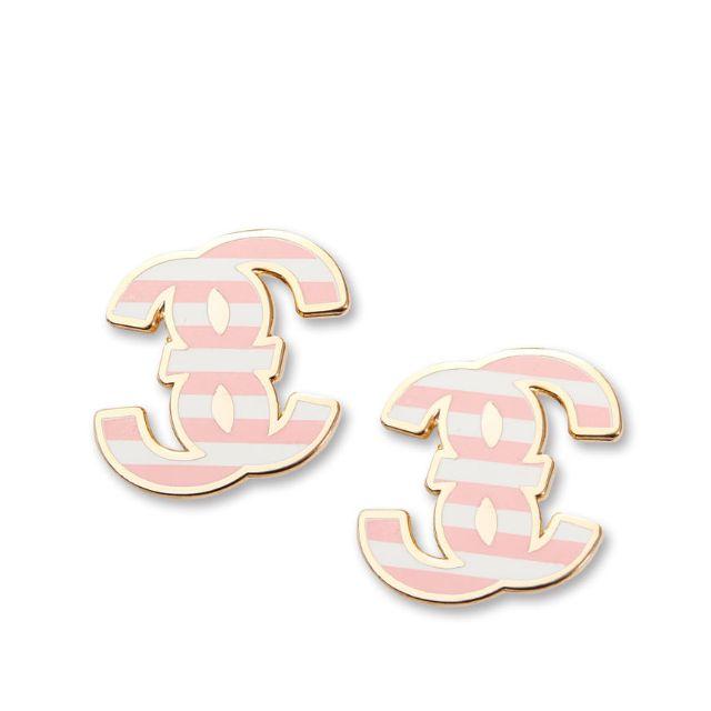 轉賣 MJR DOUBLE M 粉嫩條紋夾式耳環 粉色