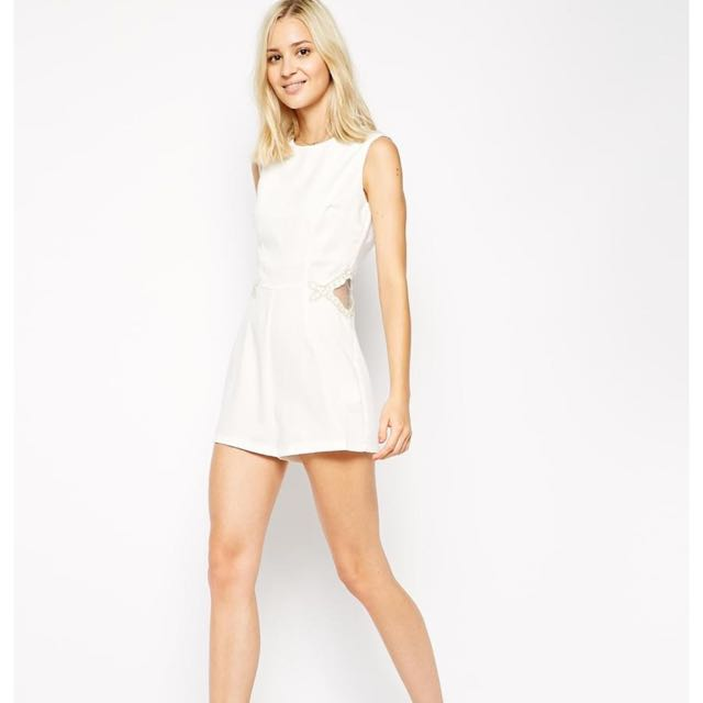 51f2b75636 Asos AX Paris Playsuit with Gold Trim and Mesh Inserts (BNWT ...