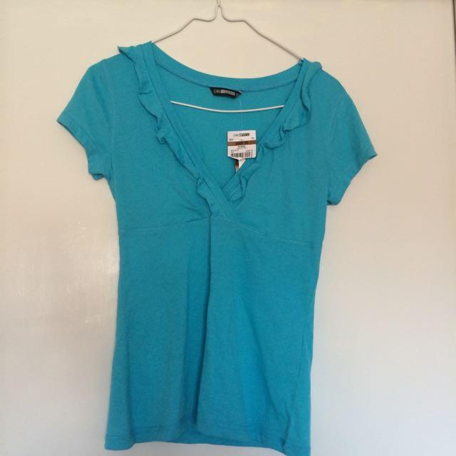 Blue Ruffle Shirt