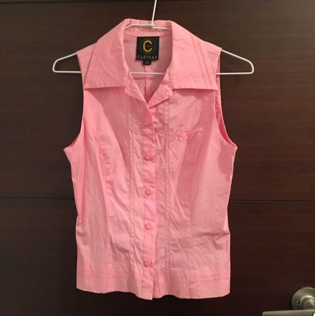 CLATHAS粉色無袖襯衫