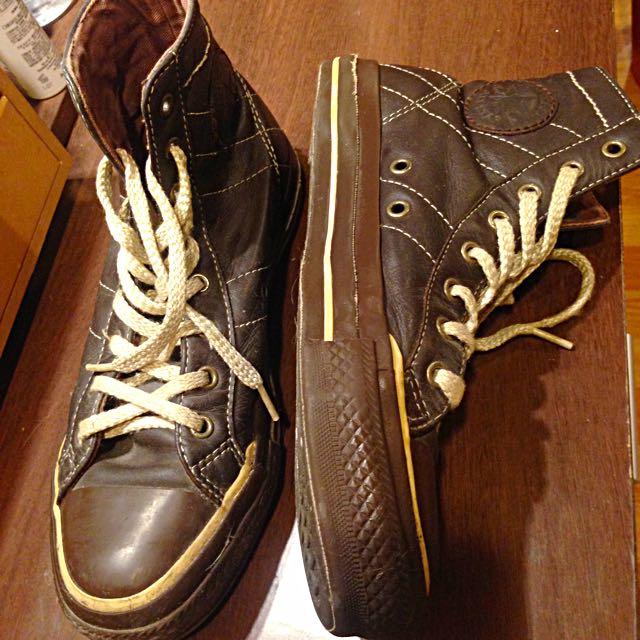 高筒converse皮革帆布鞋
