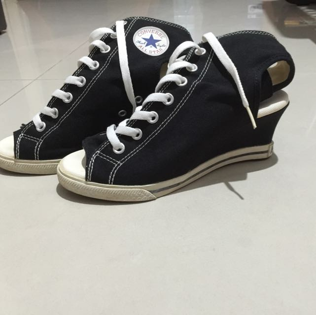 3c9233a4a1f9 CONVERSE Unique Rare Dark Blue Wedge Open Toe Heel Exposed Shoes ...