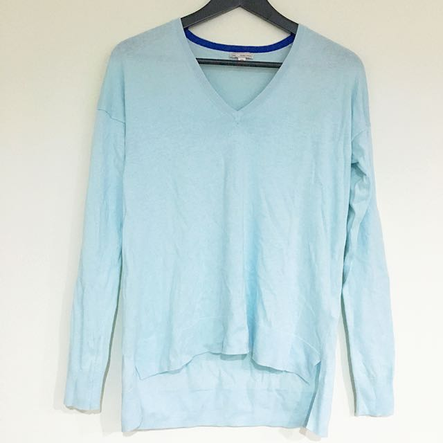 GAP薄針織粉藍長袖上衣