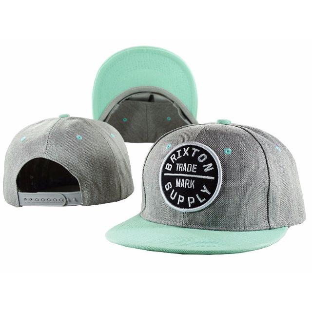 680b9574bb Instock Brixton Supply Trademark Grey Tiffany Green Turquoise Round Logo Snapback  Cap Hat Caps Hats with Adjustable Strap