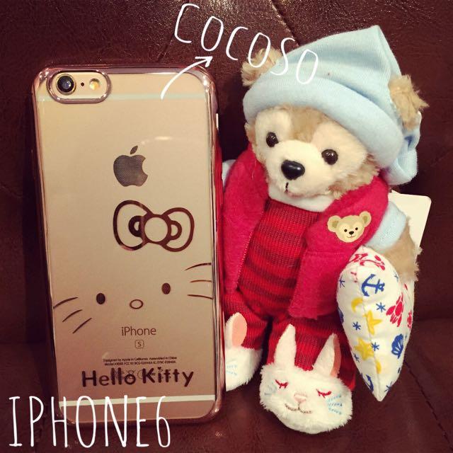 玫瑰金半臉kitty電鍍手機殼