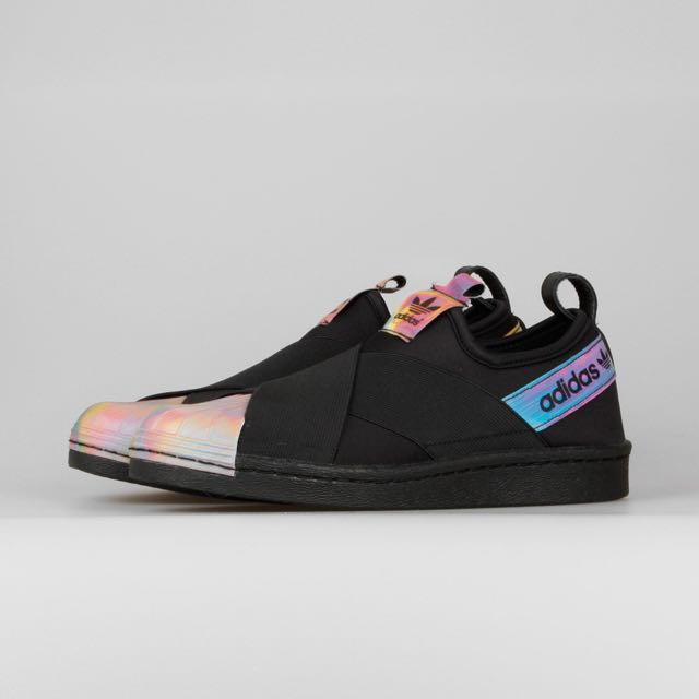 Rita Ora x adidas Superstar Slip On W Black Hologram, Sports on Carousell