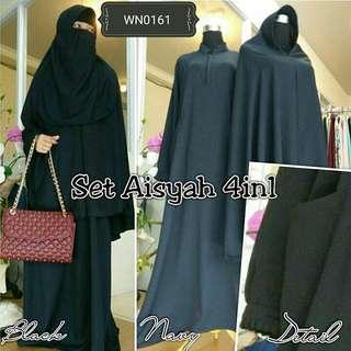 Set Aisyah 4in1 / Hijab Syari / Gamis