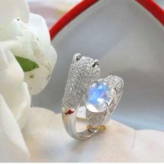 珠寶 天然  藍暈月光石 寶石 施華洛施奇水晶