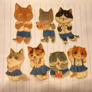 學生貓咪 紙膠帶貼紙