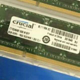 1 X Crucial 8gb 1600mhz Laptop DDR3L SODIMM