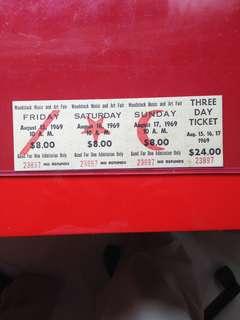 1969 Original Woodstock 3-Day Ticket.  Absolutely Genuine!