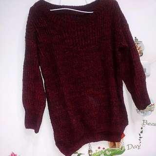 酒紅針織毛衣