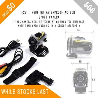 FOC , WHILE STOCKS LAST - F22 , WATERPROOF CAMERA WITH 720P HD.