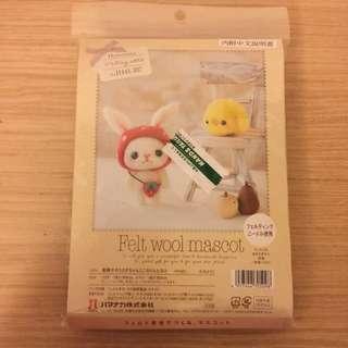 全新 羊毛氈DIY手作材料包-兔寶與小雞,購於台隆手創館。產地:日本