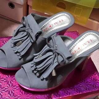 35號*灰色高跟拖鞋*