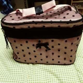 網紗粉紅黑點點外出旅行化妝包-可換物
