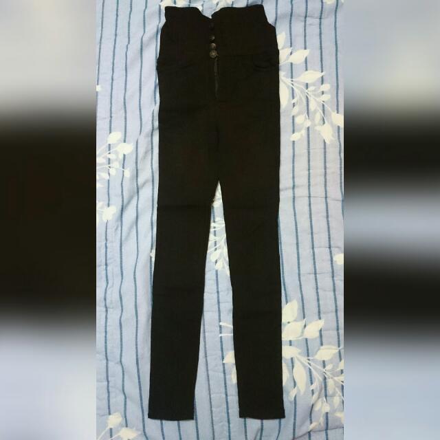 保留)高腰四釦交叉口袋內刷毛長褲