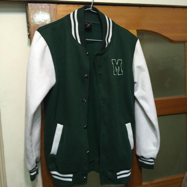 鋪棉綠色棒球外套