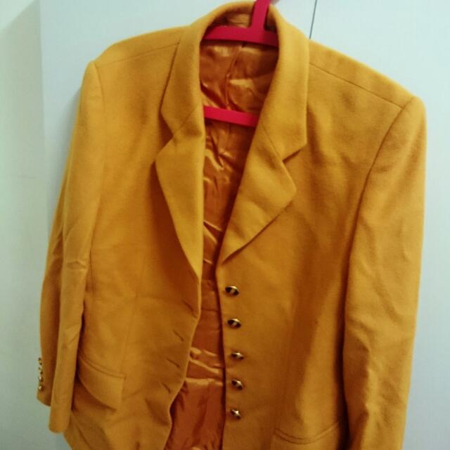 (出清換現金)vintage古著芥黃色毛尼西裝大衣外套
