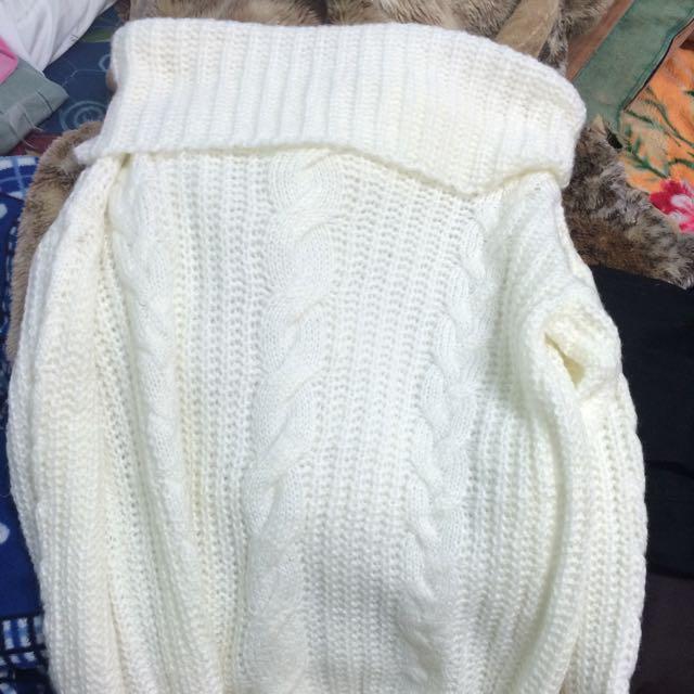 ㄧ字領針織毛衣   全新