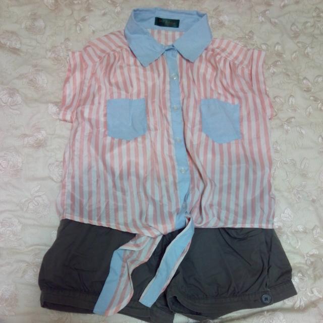 🎀套裝 條紋雪紡襯衫領上衣+燈籠褲