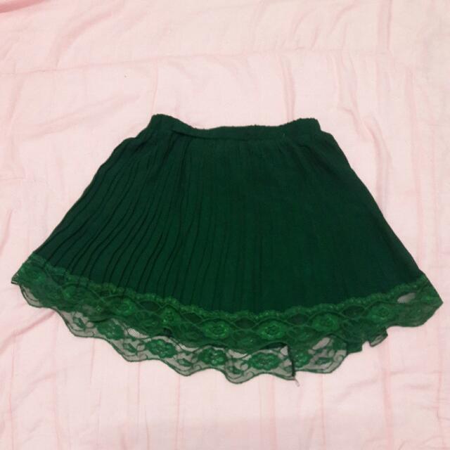 【全新】綠色 蕾絲邊 短裙
