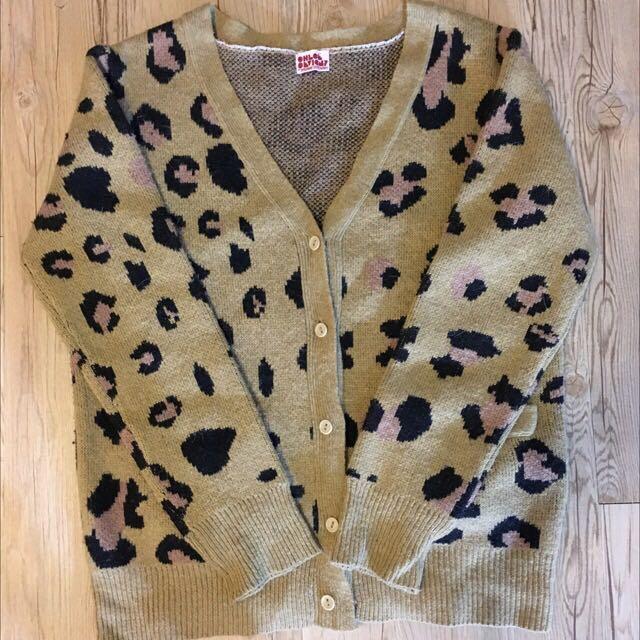 二手商品 黃褐色豹紋印花  針織厚外套