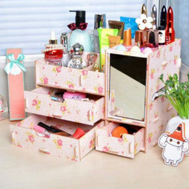💄木質桌上超大收納盒 化妝盒 面紙盒 鏡子