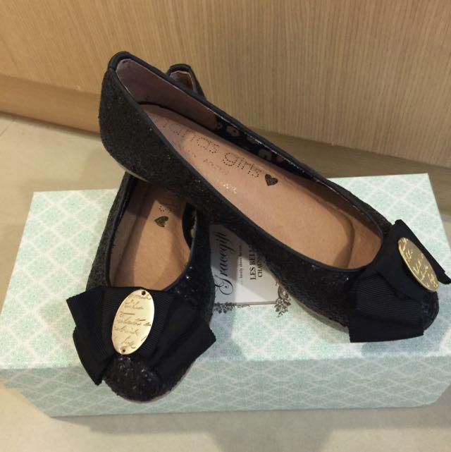 韓國買回 黑色亮片 洋氣娃娃鞋 蝴蝶結 34號
