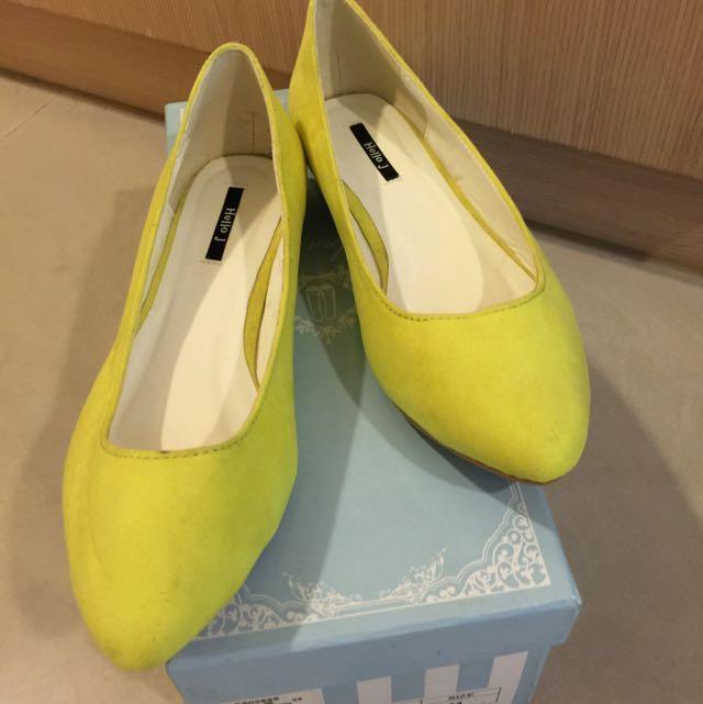 韓國買回 螢光黃平底23號 娃娃鞋 可愛 snidel 情人節特價