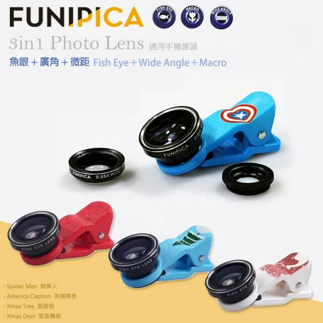 [手機鏡頭] FUNPICA 3-IN-1 魚眼/微距/廣角夾式特效鏡頭