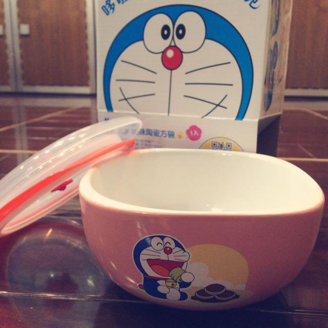 全新 哆啦A夢美味陶瓷方碗