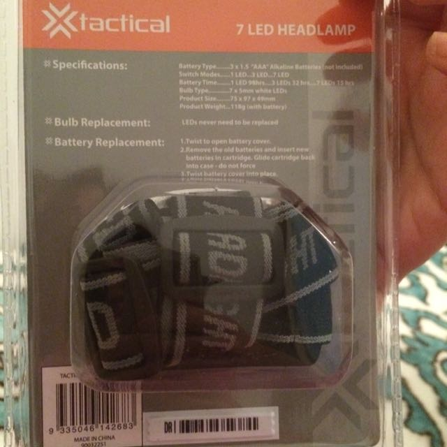 Brand New Tactical 7 Led Headlamp