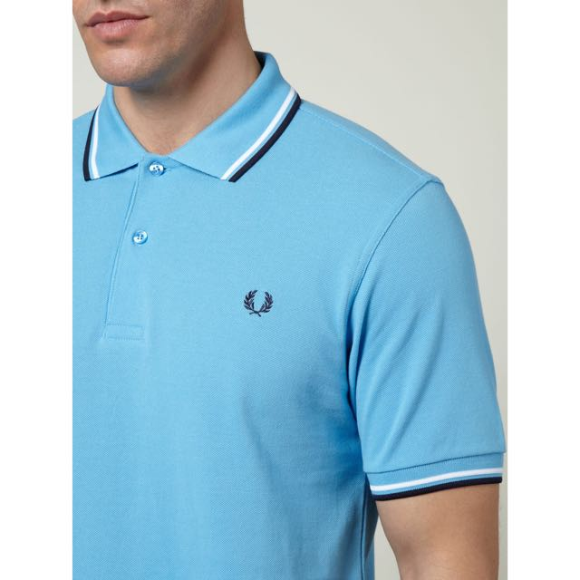 abc921416 Fred Perry Twin Tipeed Regular Fit Light Blue, Men's Fashion on Carousell