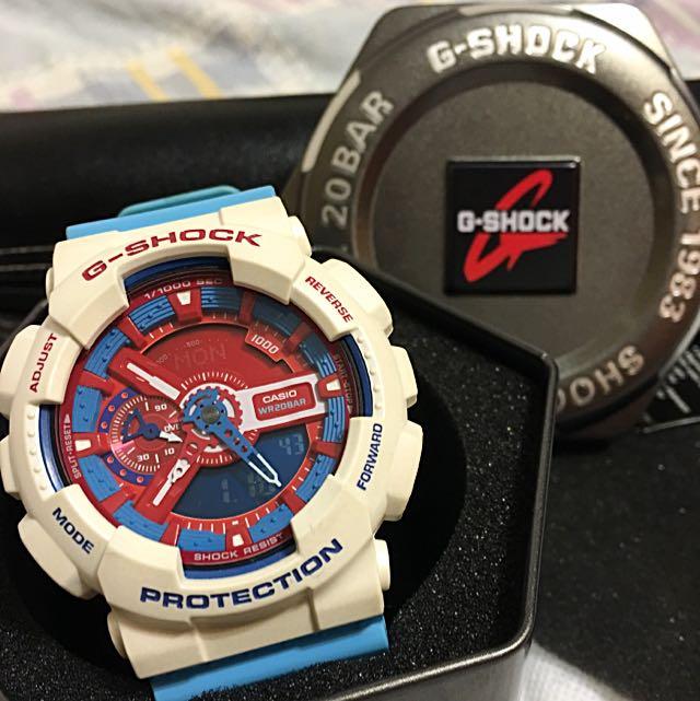 G-SHOCK GA-110AC-7ADR 藍白手錶