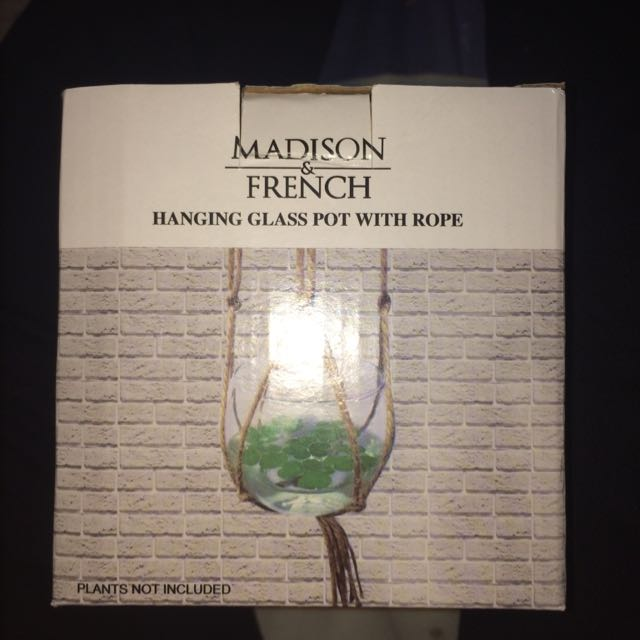 Hanging Glass Pot with Rope