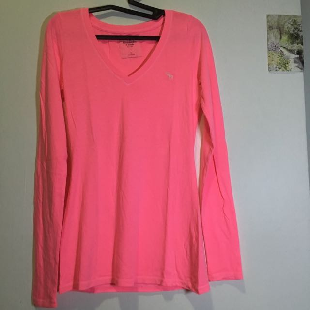hot pink long sleeve Abercrombie shirt