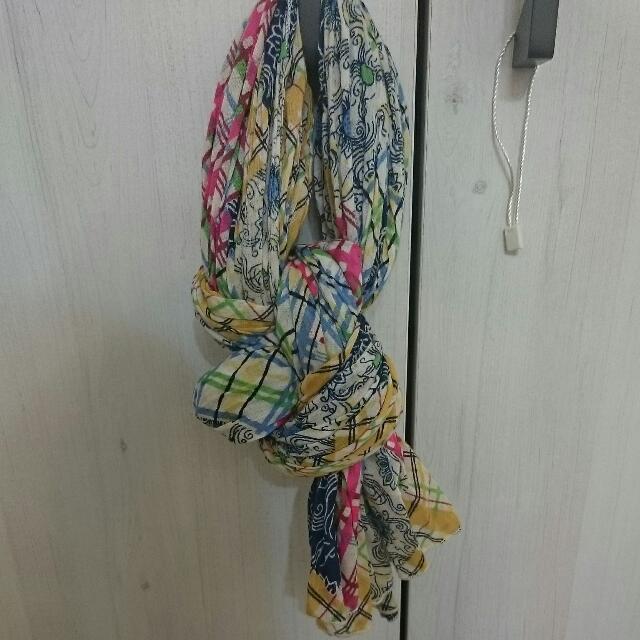 二手/net印度棉繽紛皺褶圍巾