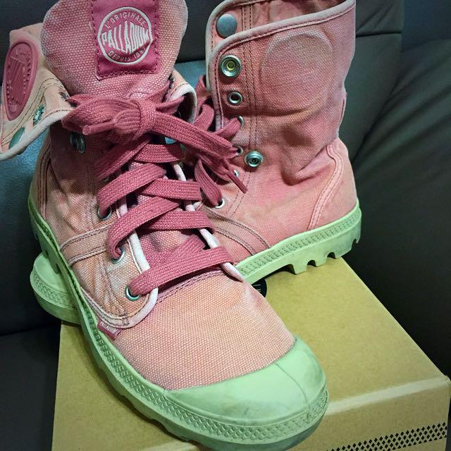 Palladium  PALLABROUSE BAGGY 粉色 水洗布 反折靴 女款 NO.92478-668-M