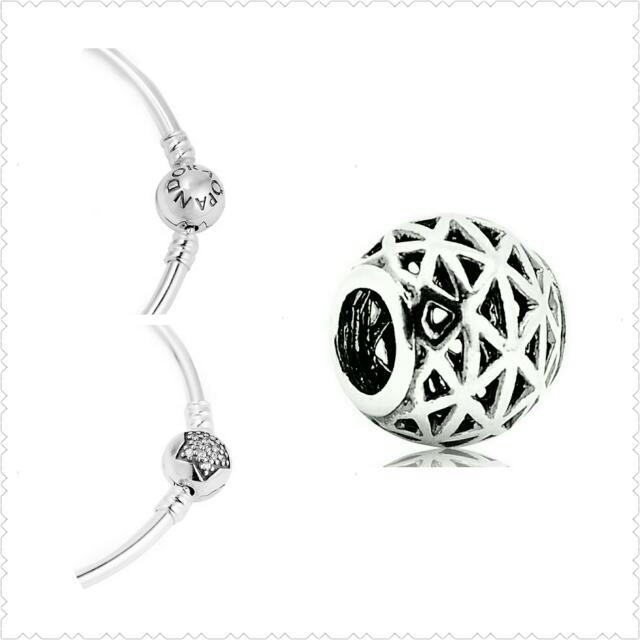 【出清】Pandora潘朵拉-星星鑲鑽圓珠開扣式手環+簍空魅力串珠