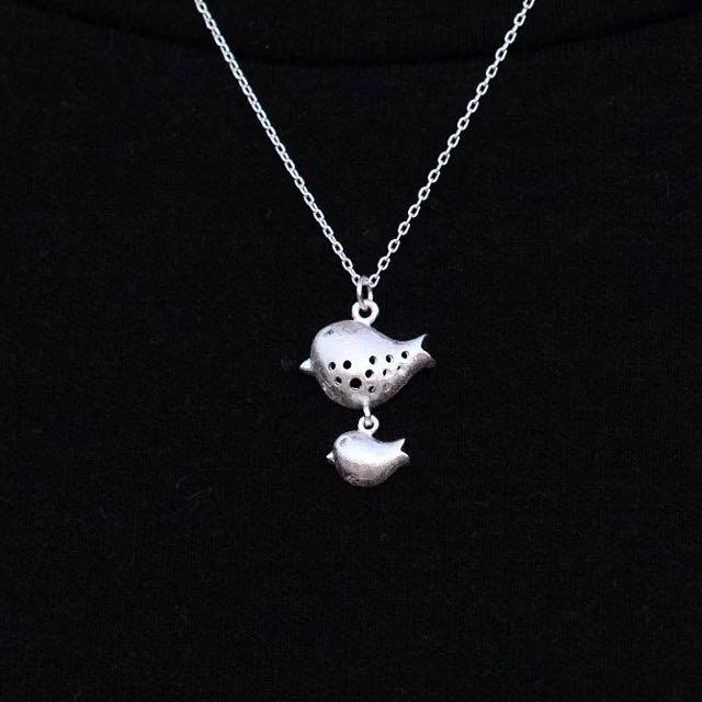 日韓版時尚個性S925正品純銀飾品兩隻小鳥吊墜項鍊鎖骨鏈 小鳥 俏皮可愛