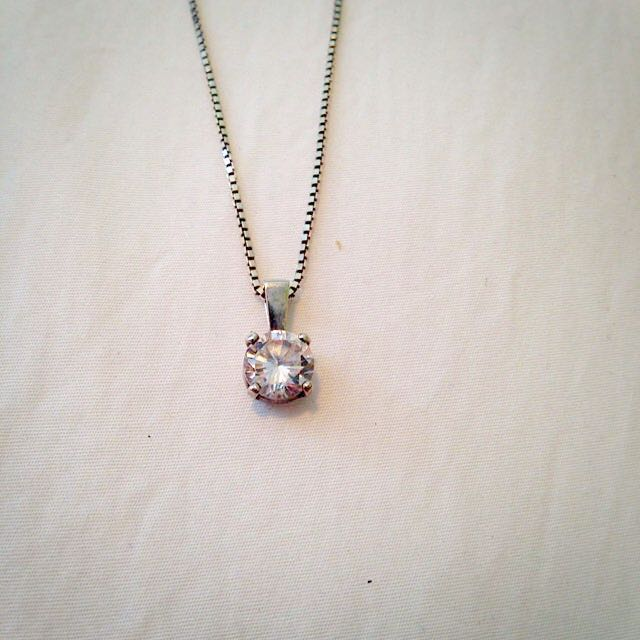 Sterling Silver And Cubic zirconia Necklace