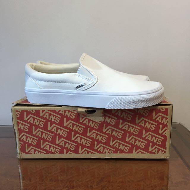 Vans Slip on Full White Shoes, Men's