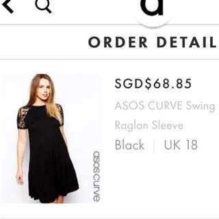 ASOS Uk18 Brand New Black Swing Dress With Lace Sleeve