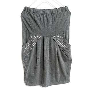 🚚 淺灰平口鉚釘口袋洋裝