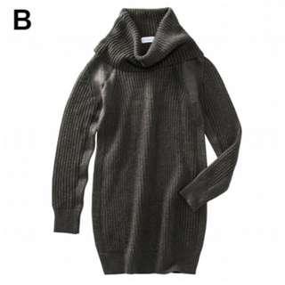 👍日本nissen 俐落顯瘦羅紋編織鬆糕領長版針織上衣-炭灰M