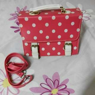 Red Dotted Hand Bag (With Detachable Strap)