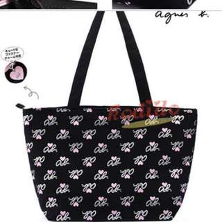Agnes B Voyage Pink Hearts Zip Tote with Metal Charm