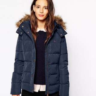 ASOS Jack Wills Padded Coat With Faux Fur Trimmed Hood藍色外套UK8號(s適穿)